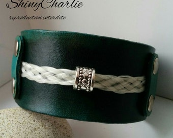 Bracelet leather with horsehair (horse hair bracelet leather)