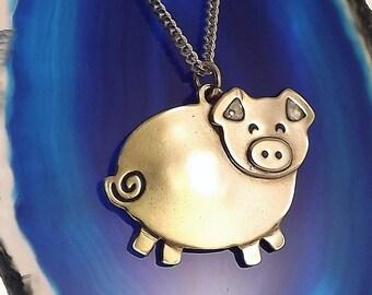 Pig Pendant, Sterling Silver