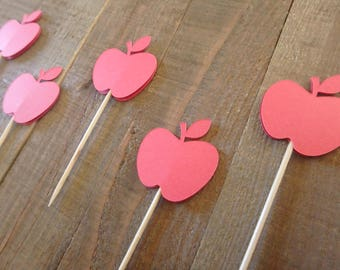 12 Teachers Cupcake Toppers, Apple cake toppers, apple pie toppers, pie toppers, Teachers cake toppers, Apple cupcake toppers,Teachers gifts