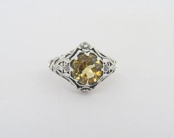 Vintage Sterling Silver Natural Citrine Flower Filigree Ring Size 8