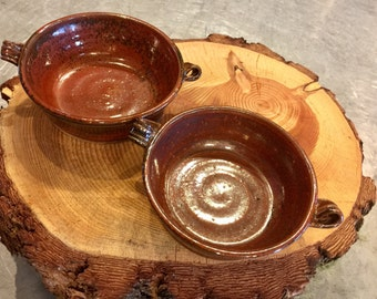Handmade pottery soup tureens bowls red