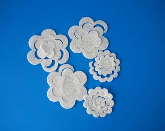 Die Cuts Felt 3D Flowers, Felt 3D Flowers, White 3D Felt Flowers, Felt 3D Flower, Die Cut 3D Flower, Assorted Die Cut, 50 3D Flowers