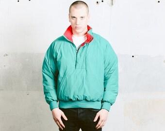 Mens 80s Ski Jacket . Vintage Padded Winter Coat Retro Puffa Jacket Short Coat Blue Ski Jacket 80s Windbreaker Outerwear . size Medium