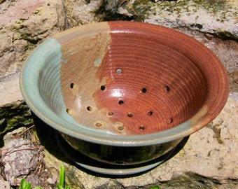 Berry Bowl with Plate Turquoise and Brown