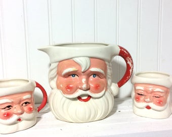 Vintage Santa Pitcher and 2 Santa Cups