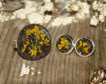 Christmas Gifts Nature Resin Ring Set Resin Jewelry, Nature Ring Resin Earrings Real Plants, Botanical Ring Real Flower Ring Jewelry Gift