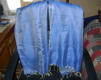 Vintage Indian Silk Sari Shawl with Silk Fringe and Blue Floral Pattern