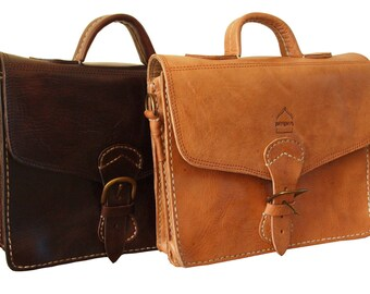 "Leather Mini Satchel Laptop Bag with Strap ""The Marrakech"" Handmade Moroccan Dark Brown/Tan"