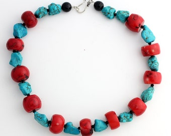 Red Coral and Howlite Turquoise Necklace  KC4208