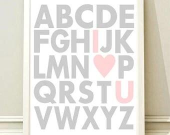 Nursery Wall Art Print, Kids Art Print, Animal Nursery Print, Modern Nursery Decor, Alphabet poster, Kids room