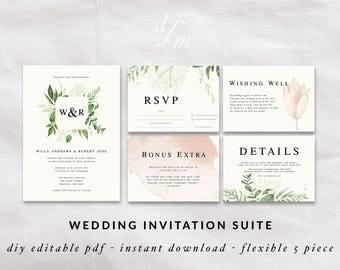 Editable wedding invitation, Green leaf border, Watercolor invites, Floral Wedding, Digital Printable File, Instant Download PDF Template