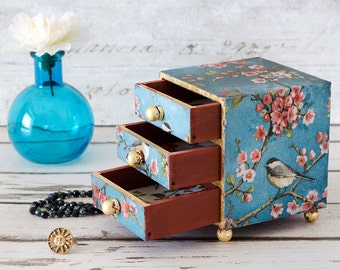 Mini Chest of Drawers - Jewellery Box - Trinket Box - Trinket Drawers - Birthday Gift - Shabby Chic - Mother's Day Gift