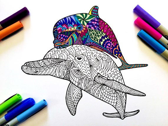 Coloring Pages For Adults Dolphins : Dolphins pdf zentangle coloring page