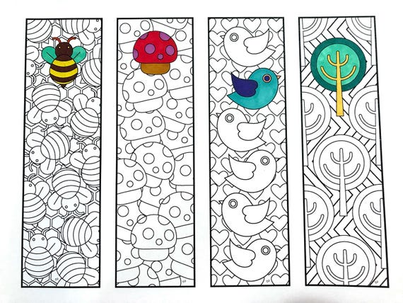 Cute Nature Bookmarks PDF Zentangle Coloring Page