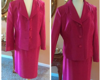 Elegant Hot Pink Suit Jacket with Skirt Size 16 By Kasper Mother of the Bride  Business Attire