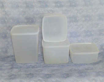 4 Pieces of Tupperware Square  Food Storage  PreOwned  Vintage Tupperware  Great Shapre