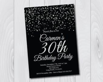 30th Birthday Invitation/Printable Silver & Black Birthday Invitation/e-card invitation/Template/Birthday Invitation/thirtieth birthday