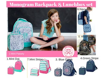 Monogram Backpack and Lunch box set, Monogram backpack,  personalized lunchbox, book bag, summer camp set