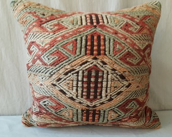 "About 55 Years Old  Hand Made  Kilim Pillow Cover Cushion Cover Decorative Pillow Hand Woven Hand Made  Size:Feet 1'5""1'5"" 45cm ×45cm"