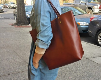 Soft Italian Leather Women's Handbag/ Brown Leather Tote/ Genuine Leather Shopper/Raw Edged Shopper