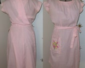 CLEARANCE! Vintage 1950s Swirl pink white stripe floral embroidery wrap dress M L XL 331