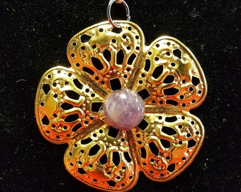 Gold Flower with Natural Amethyst