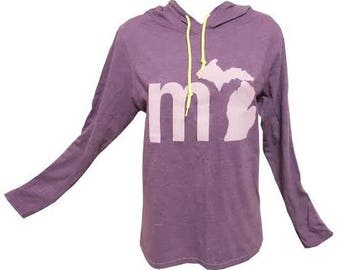 MI Lightweight Michigan Hoodie - Purple