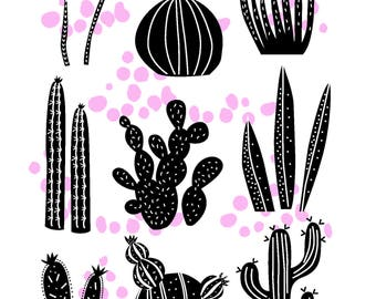 Cactus, black and white poster, pink