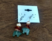 Autumn bear moss agate, amber, and pearl earrings