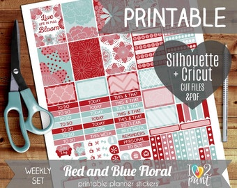 Red and Blue Floral Printable Planner Stickers, Erin Condren Planner Stickers, Weekly Planner ...