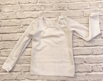 White stretchy athletic mesh long sleeved top baby toddler girls shirt