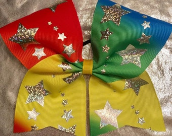 Rainbow Ombre Stars Texas Sized Hair Bow
