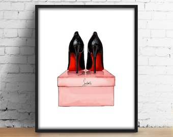 Christian Louboutin Shoes Printable Modern Design digital print Watercolor Decor Louboutin Shoes wall art Fashion Girl room Illustration