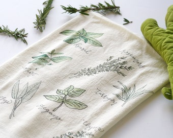 Flour Sack Towel, Herbs Tea Towel, Flour Sack Tea Towels, Tea Towel, Flour Sack Kitchen Towels, Flour Sack Dish Towels, Farmhouse Kitchen