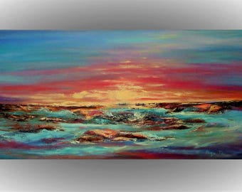 Original abstract painting unique gift bridesmaid gift  Seascape Sunset art canvas wall decor Blue Pink Orange landscape painting Sea art