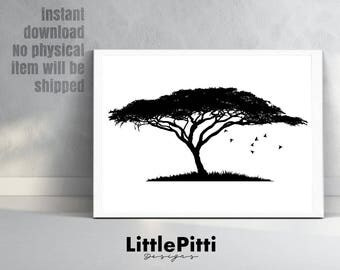 Baobab tree print, africa wall art, african art, safari wall art, nature print, madagascar, african baobab, black wall art