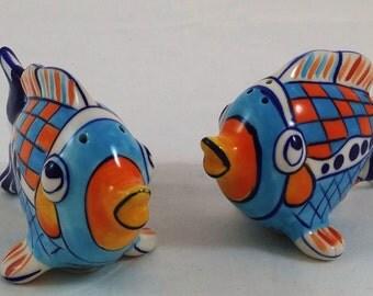 Vintage Diane Blue Sky Giggle Fish Salt and Pepper Shaker Set