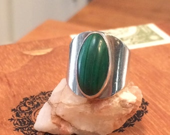 Malachite ring vintage ring Sterling ring seventies ring modernist ring