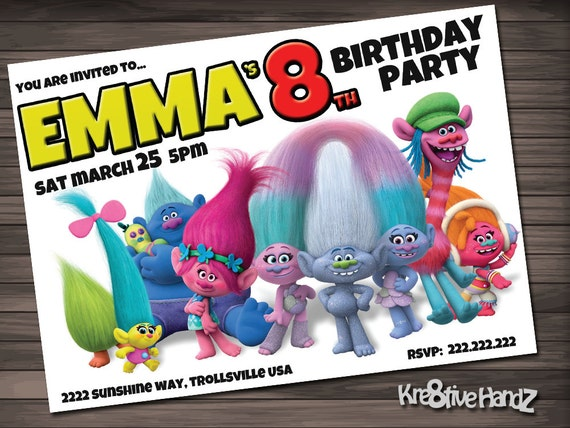 Trolls Birthday Party Invitation customized printable invite for boys or girl of any age + Free Thank You Card