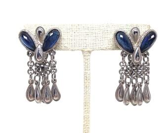 Fascinating Blue Rhinestone Dangle Silver Tone Vintage Estate Earrings