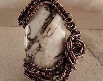Agate stone wire wrapped in copper wire