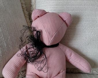 "Refurbished Pink Linen Bear, Homemade Bear, Decorator Bear, 13.5"" Tall"