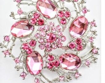 Pink elegant austrian rhinestone crystal wedding bridal brooch pin