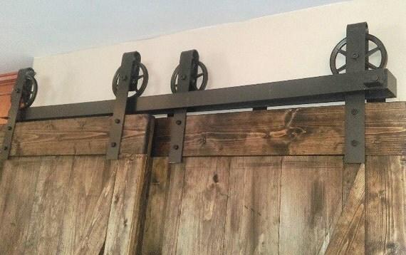 "6"" Wheel Rustic Bypass Sliding Barn Door Hardware | Raw Steel"