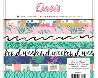 "Crate Paper Oasis 6"" x 6"" Scrapbook Patterned Paper Pad"