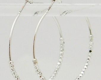 Metallic Beaded Hoop Earrings