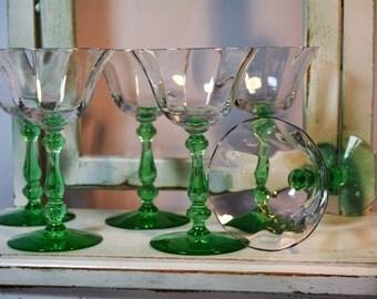 Rare, Tiffin Franciscan, Vaseline Glass, 1920's Stemware, Green Stems, Uranium Glass, Set of Six