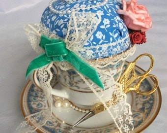 Pincushion vintage teacup & saucer