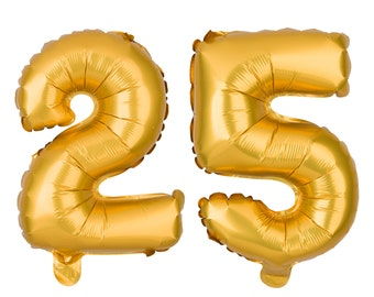 25 Number Balloons, 25th Birthday Party Balloons, 25 Balloon Numbers, 25 Party Supplies, 25th Birthday Decorations, Decor, 16 Inch Gold