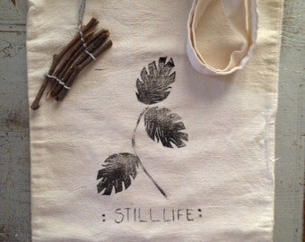 Still life TOTE BAG linoprinted bag